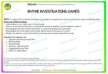 BUNDLE - Rhyme games and inquiry Ideas