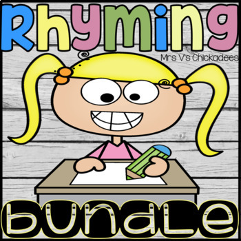 BUNDLE: Rhyming Words Worksheets & Hands On Centers