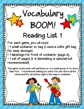 Test Prep BUNDLE: Reading Vocabulary Lists 1 and 2