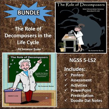 BUNDLE!  Role of Decomposers: PowerPoint, Doodle Dat Notes, and Activities