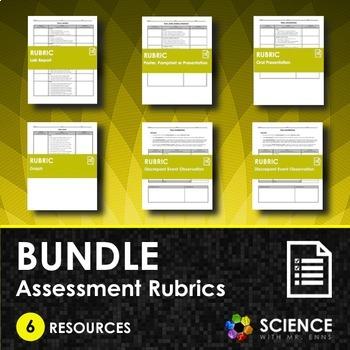 BUNDLE - Assessment Rubrics (Lab Report, Graph, Pamphlet, Presentation, Etc.)