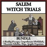 SALEM WITCH TRIALS BUNDLE  - Reading Comprehension, Activities, and Bingo