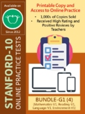 BUNDLE: SAT-10 Practice Tests for G1 (Math, Reading, Language, and Env-V1)