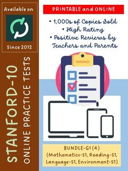 BUNDLE: SAT-10 Practice Tests for KG (Math, Reading, Lang, and Env-Version 1)