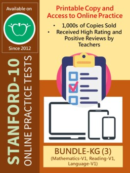 BUNDLE: SAT-10 Practice Tests for KG (Math, Reading, and Lang-Version 1 Only)