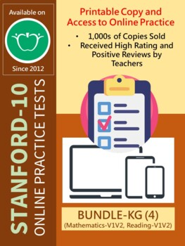 BUNDLE: SAT-10 Practice Tests for KG (Math and Reading-Versions 1 and 2)
