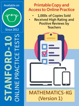 BUNDLE: Test/Assessment Resources for KG (Mathematics-Versions 1 and 2)