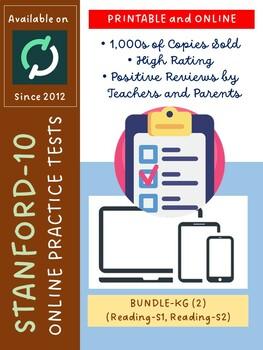 BUNDLE: SAT-10 Practice Tests for Kindergarten (Reading-Versions 1 and 2)