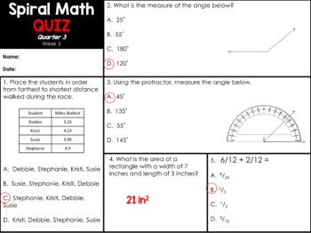 4th Grade Spiral Math
