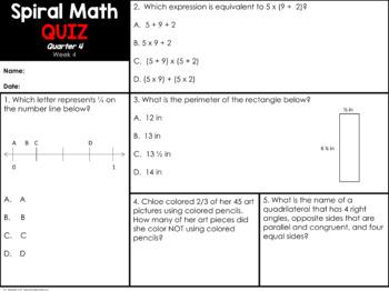 5th Grade Spiral Math