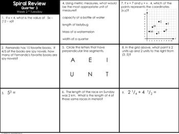 5th Grade Spiral Math BUNDLE