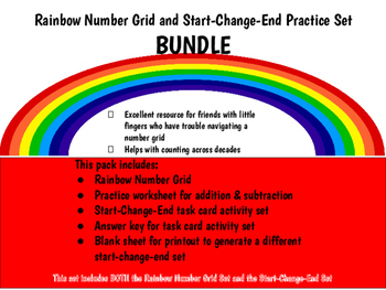 BUNDLE SET: Rainbow Number Grid Set & Start Change End Practice Set
