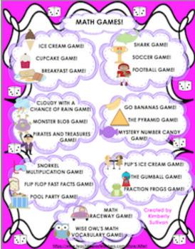 BUNDLE! 20 MATH GAMES and 50 PRINTABLES! GRADES 4 - 6