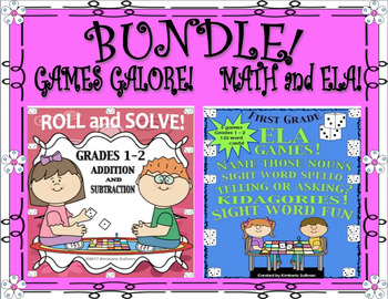 BUNDLE! Winter REVIEW!  MATH and ELA GAMES!  GRADES 1 - 2
