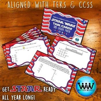 BUNDLE - STAR READY 3rd Grade Math Task Cards ~ SETS 1-3 {TEKS-aligned}