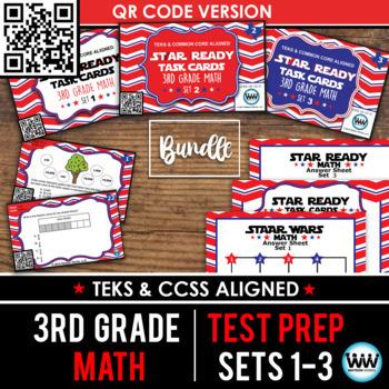 SETS 1-3 QR BUNDLE - STAR READY 3rd Grade Math Task Cards - STAAR / TEKS-aligned
