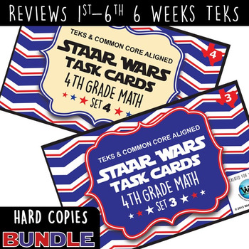 BUNDLE - STAR READY 4th Grade Math Task Cards ~ SETS 1-6 ~ HARD COPIES