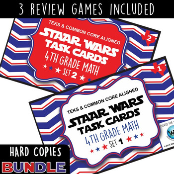 BUNDLE - STAAR WARS 4th Grade Math Task Cards ~ SETS 1-6 ~