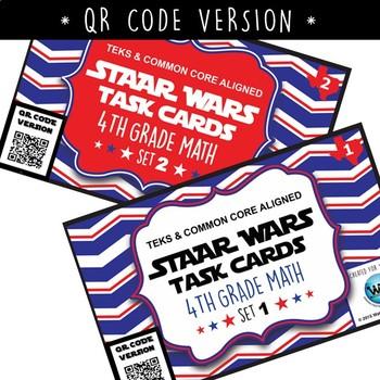 BUNDLE - STAAR READY 4th Grade Math Task Cards ~ SETS 1-6 ~ QR Code Version