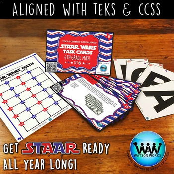 BUNDLE - STAAR READY 4th Grade Math Task Cards ~ SETS 4-6 ~ QR Code Version