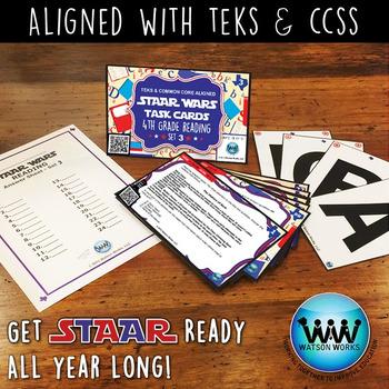BUNDLE - STAR READY 4th Grade Reading Task Cards ~ SETS 1-3 ~ QR Code Version