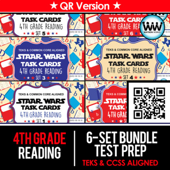 BUNDLE - STAR READY 4th Grade Reading Task Cards ~ SETS 1-6 ~ QR Code Version