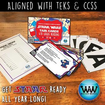 BUNDLE - STAAR WARS 4th Grade Reading Task Cards ~ SETS 4-6 ~ QR Code Version