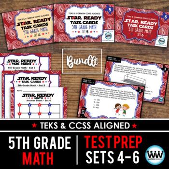 BUNDLE - STAR READY 5th Grade Math Task Cards ~ SETS 4-6 {TEKS-aligned}