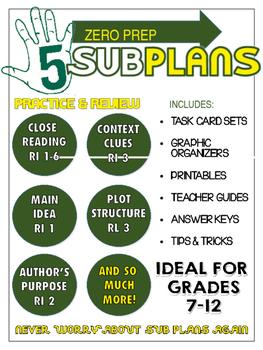BUNDLE: SUB Plans for ANY English TEACHER - CCSS - NO PREP