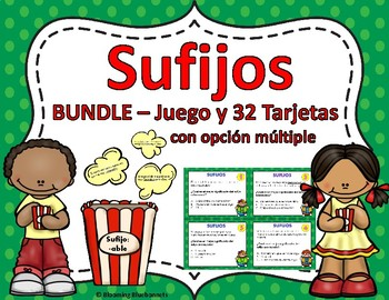 SUFIJOS-Task Cards-&-SUFIJOS Popcorn Game-GRAMÁTICA-BUNDLE