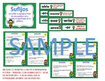 SUFIJOS-Task Cards-&-SUFIJOS Popcorn Game-GRAMÁTICA