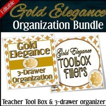 BUNDLE Savings!-- Toolbox + Drawer Organization Labels -- Gold Elegance 2