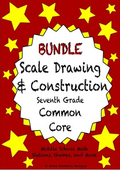 BUNDLE Scale and Constructions Math Stations for Common Core Seventh Grade