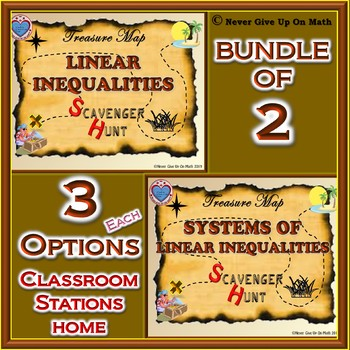 BUNDLE Scavenger Hunt - Linear Inequalities & Systems of Linear Inequalities