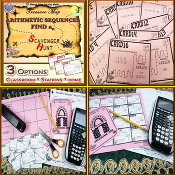 BUNDLE Scavenger Hunt - Sequences Find an (Arithmetic & Geometric)