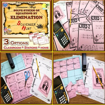 BUNDLE Scavenger Hunt - Solving Systems of Equations Three Techniques