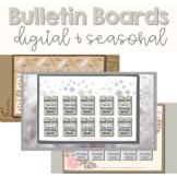 BUNDLE Seasonal Digital Bulletin Board | Fall, Winter, Spring