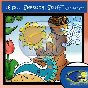BUNDLE! Seasonal Kids and Objects Clip-Art (66 pc. BW and Color!)