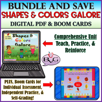 BUNDLE Shapes and Colors Galore Complete Unit with BOOM CARDS
