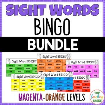 New Zealand Sight Words BINGO Magenta to Orange Levels