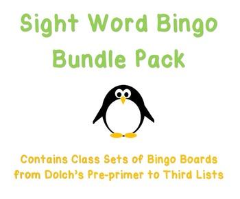 BUNDLE Sight Word Bingo Pre-primer to Third Lists