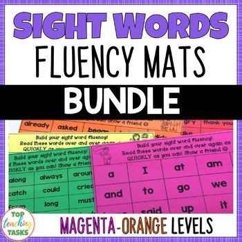 New Zealand Sight Words - Fluency Mats - Magenta to Orange Levels