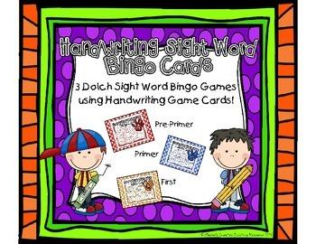 *BUNDLE* Sight Word Handwriting Bingo {PrePrimer, Primer &