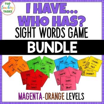 New Zealand Sight Words - I have, Who Has Game - Magenta to Orange Levels