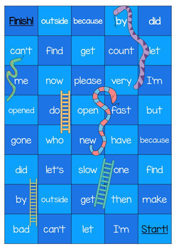 New Zealand Sight Words Snakes and Ladders Magenta to Orange Levels