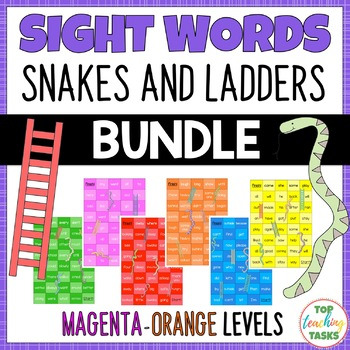 Sight Words Snakes and Ladders Magenta to Orange Levels