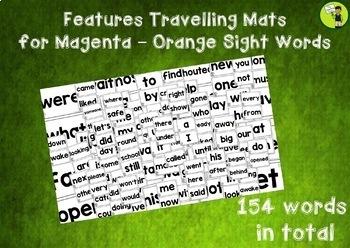 New Zealand Sight Words -  Travelling Mats - Magenta to Orange Levels