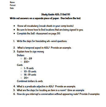 BUNDLE Signing Naturally Unit 10 Quizzes Study Guide And Final Unit Test
