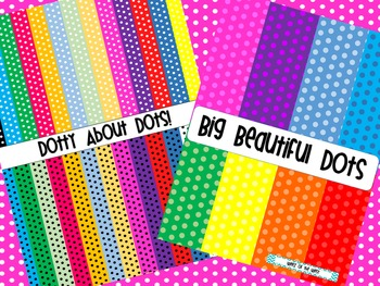 BUNDLE - Small Black and White and Large Coloured Polka Dots Digital Papers