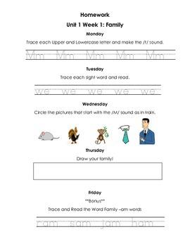 BUNDLE Smart Start- Unit 10 Treasures Kindergarten Homework